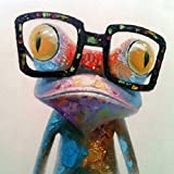 Everfun Art Hand-painted Huge Oil Painting Happy Frog Modern Wall Art on Canvas Unframed and Unstretched 32*32 inch