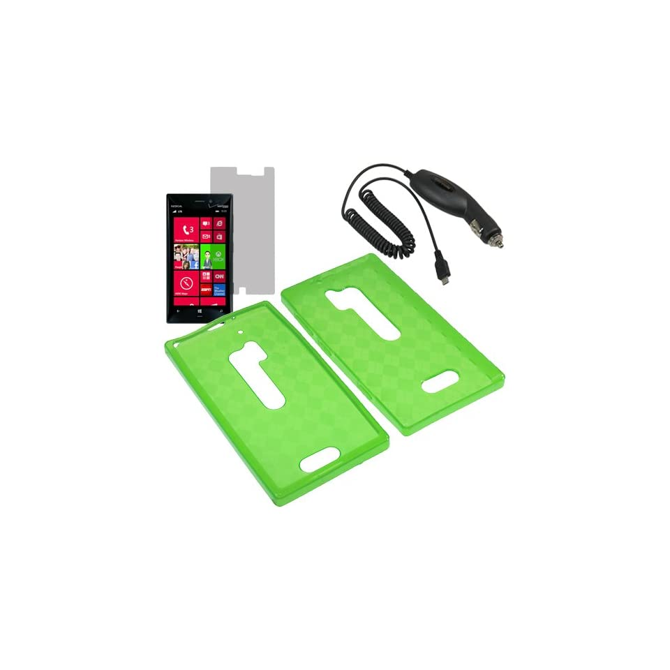 HR TPU Sleeve Gel Cover Skin Case for Verizon Nokia Lumia 928 + LCD + Car Charger Green Checker Cell Phones & Accessories