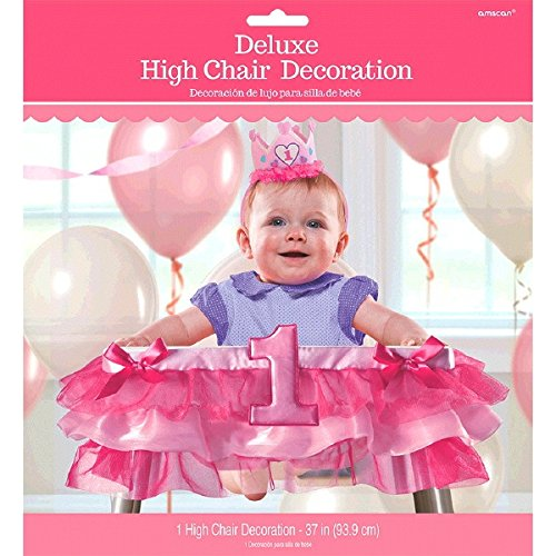 "Amscan 1st Birthday Deluxe High Chair Decoration Party Supplies, 37"", Pink"