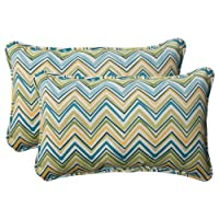 Pillow Perfect Indoor/Outdoor Cosmo Chevron Corded Rectangular Throw Pillow, Lilypad, Set of 2 by Pillow Perfect