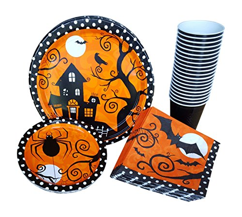 Halloween Party Supplies Pack for 18 Guests Including Dinner Plates, Dessert/Appetizer Plates, Napkins and (Halloween Party Theme Ideas For Adults)