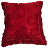 Mahalaxmi Furnishings Rose Tissue Cushion Cover (Color: Red, Size: 40 CM X 40 CM )