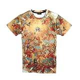 (ピゾフ)Pizoff メンズ Tシャツ 丸首 半袖 ユニセックス モード系 ストリート系 ファッション 原宿系 b系 v系 ヒップホップスタイル 普段着 個性的 トップス Y0415----1--M