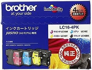 ブラザー工業 インクカートリッジ LC16インク4色(BK/C/M/Y)パック LC16-4PK