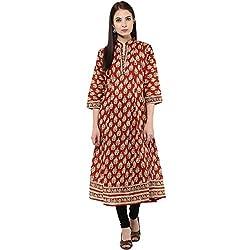 Bhama Couture Rust Printed Anarkali Kurti Medium