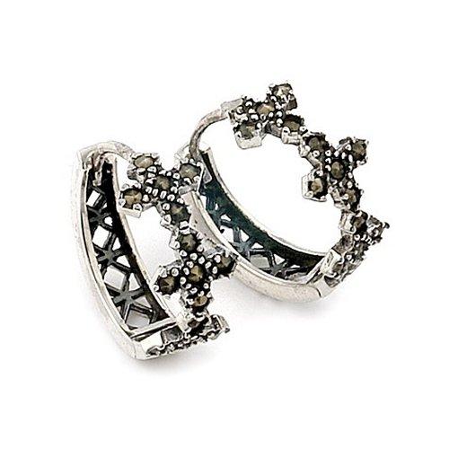 Marcasite 3 Flower Huggie Sterling Silver Earrings