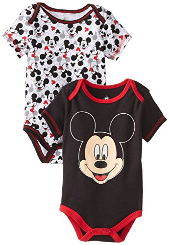 Disney Baby Boys Newborn Mickey Mouse 2 Pack Bodysuit- Character Face, Black, 6-9 Months front-836595