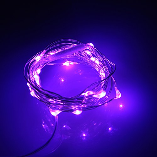 Tpcromeer 7Ft Silver Wire 20 Micro Leds String Light Ultra-Thin Starry Lights Battery Operated For Parties, Kids Bedroom, Offices, Bbqs, Wedding, Indoor And Outdoor Decorations (Purple)