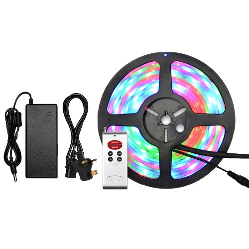 Miniwatts Ip68 Waterproof & Dustproof 5050 5M 30/M Smd Leds Rgb Led Strip With Rf Controller And 5A Power Supply & Uk Plug Kit