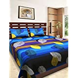 Royal Collection 120 TC Cotton Double Bedsheet With Pillow Covers - Abstract, Blue