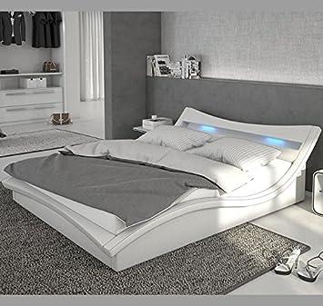 Muebles Bonitos – Cama de diseño modelo Granada en color Blanco 160x190cm Con LED