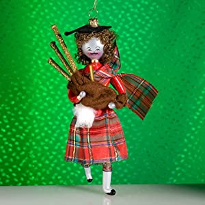 De Carlini Italian Glass Bagpiper Christmas Ornament