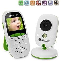 """SUNLUXY® 2"""" Baby Monitor LCD a Colori Wireless Digitale Videocamera IR Array LED Citofono Visione Notturna Monitoraggio Temperatura 8 Ninnananne Batteria Ricaricabile per Bambini Bimbi Videosorveglianza Sicurezza"""