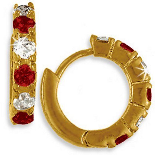 24k Gold Bonded Simulated Ruby Red Hoop Huggy Earrings