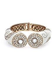 Bling Jewelry Swirl CZ White Enamel Hinge Rose Gold Plated Bangle Bracelet