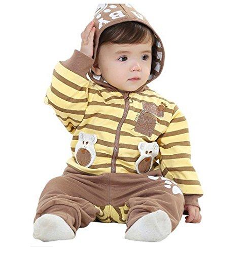 Sopo Baby Boy 3 Piece Outfits (Bear Strip Hood Jacket Tshirt Pants) Yellow 24M front-1047565