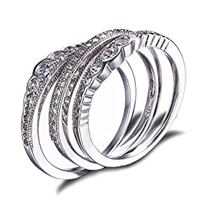 JewelryPalace Women Cubic Zirconia Stackable 3 Pc Wedding Band Anniversary Engagement Ring Bridal Set 925 Sterling Silver Size 7