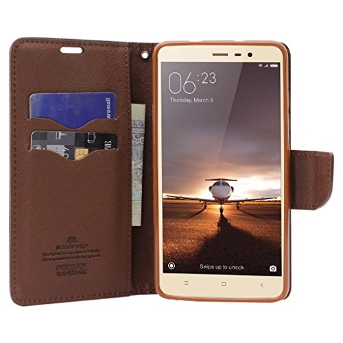 Luxury Mercury Diary Wallet Style Flip Cover Case for XIAOMI Redmi Note 3 - Black Brown