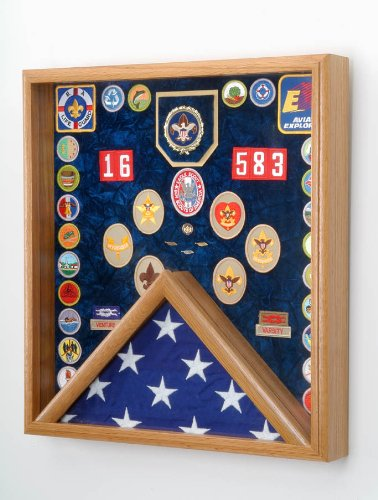 Boy Scout Flag and Awards Display Case (Laser Engraved Boy Scout Emblem) (Boy Scout Display Case compare prices)