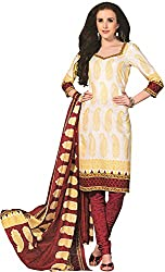 Tripssy Women's Cotton Printed Unstitched Salwar Suit (tr_dm_24, Yellow)