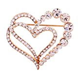 Yazilind Jewelry Rose Gold Plated Glaring Crystal Pretty Loving Heart Brooches and Pins Vintage for Women & Girls thumbnail