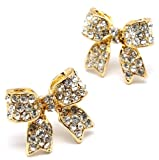 Adorable 3/4 Ribbon Bow Stud Earrings with Sparkling Clear Austrian Crystals - Gold Plated