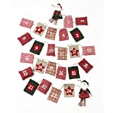 Christmas Fabric Advent Garland With Santas & Pouches 2.8 Metreby Lights4fun