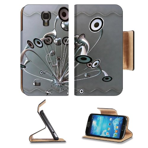 Variety Silver Metallic Speaker Design Samsung Galaxy S4 Flip Cover Case With Card Holder Customized Made To Order Support Ready Premium Deluxe Pu Leather 5 Inch (140Mm) X 3 1/4 Inch (80Mm) X 9/16 Inch (14Mm) Luxlady S Iv S 4 Professional Cases Accessorie