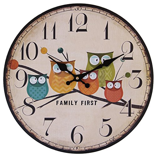 JustNile Rustic Country-Style Round Wall Clock - 13-inch Owl Family