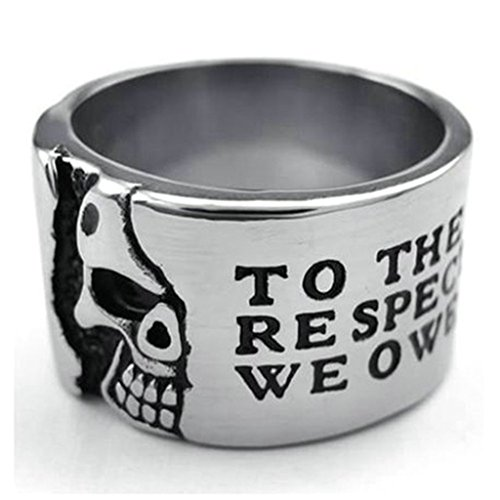 [Stainless Steel Ring for Men, Dead Head Ring Gothic Black Band Silver Band 14MM Size 12 Epinki] (Boss Hog Costume)
