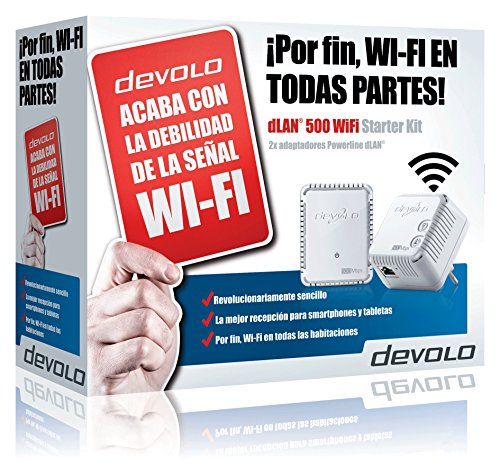 Devolo dLAN 500 WiFi - Kit adaptador Ethernet para red eléctrica PLC Powerline (conectable en la pared, 500 Mbps, 2 Adaptadores, 1x LAN Port, Repetidor WiFi, WiFi Move), blanco