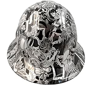 texas america safety company tattoo full brim style hydro dipped hard hat silver for ladies. Black Bedroom Furniture Sets. Home Design Ideas
