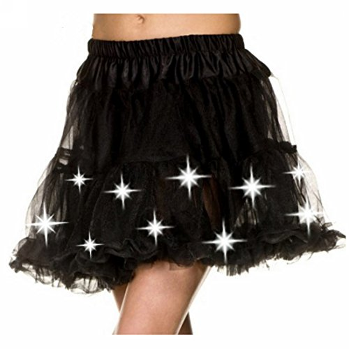 DONNAFULLIA Womens Sexy Black Light Up Petticoat(Free Size,Black)