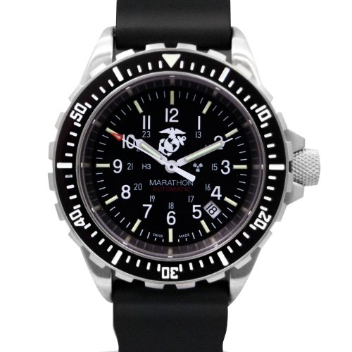 MARATHON WW194006USMC GSAR Swiss Made Military Issue Milspec Diver's Automatic US Marine Corp Officially Licensed Watch with Tritium Illumination