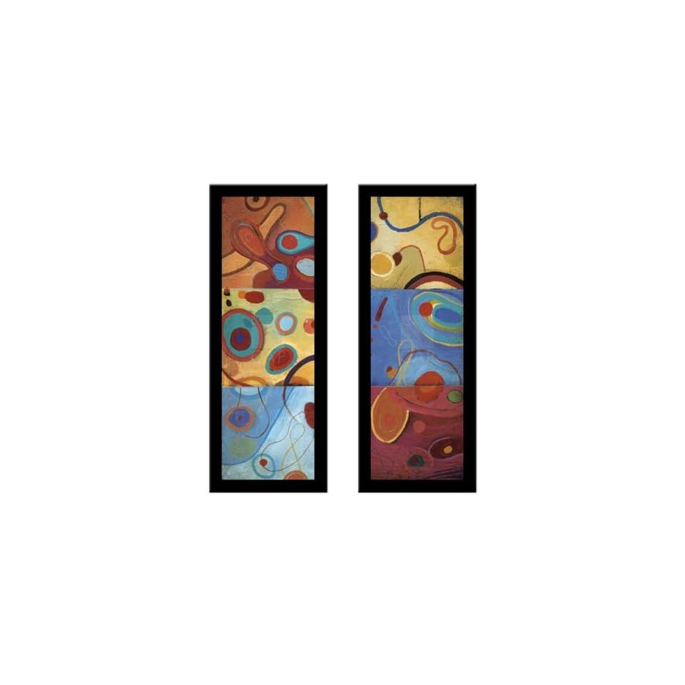 STRING THEORY II & III Abstract still life art 2 Piece FRAMED PRINT SET   Don Li Leger 16x40 Each