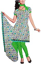 Majaajan Women's Cotton Self Print Unstitched Salwar Suit Dress Material (BNSL0650GRN, Green, Freesize)
