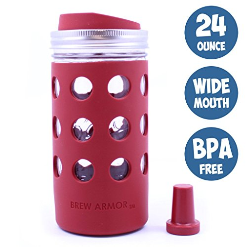 Brew Armor 24 Oz. Wide-Mouth (1.5 Pint) Mason Jar Beverage Bottle (Silicone Sleeve, Lid and Cork) by Brute Kitchen (Burnt Cayenne) (Wide Mouth Glass Water Bottle compare prices)