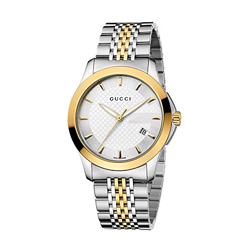 Gucci G-Timeless Collection Men's Quartz Watch with Silver Dial Analogue Display Stainless Steel and Yellow Gold...