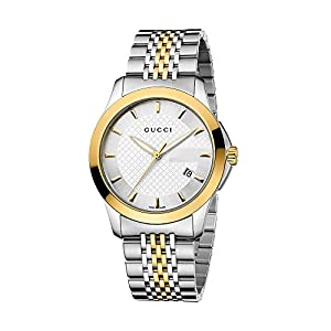 Gucci G-Timeless Collection Men's Quartz Watch with Black Dial Analogue Display and Two Tone Stainless Steel Gold Plated Bracelet YA126409