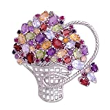 "Amethyst, garnet and topaz brooch-pendant, 'Bouquet' 2"" W 2"" L"