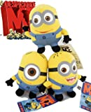 "NEW Despicable Me Minion 6"" Plush Figure Soft Doll Toy 1 Set of 3 Dave+Jorge+Stewart collectible"