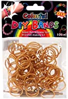 Loom Bands Colorful Silicone Metallic Gold 100 Pieces with Clips & Loom Tool