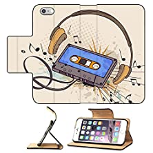 buy Luxlady Premium Apple Iphone 6 Plus Iphone 6S Plus Flip Pu Leather Wallet Case Musical Background With Audio Cassette And Headphones Image 25969220