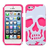 MYBAT Ivory White/Electric Pink Skullcap Hybrid Protector Cover for APPLE iPhone 5