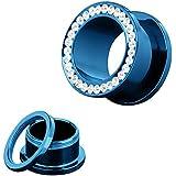 Piercingfaktor® Schmuck Flesh Schraub Tunnel Plug Ohr Piercing mit Zirkonia Kristall Klar Steinen