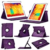 Stuff4 Diamond Designed Leather Smart Case with 360 Degree Rotating Swivel Action and Free Screen Protector/Stylus Touch Pen for 10.1 inch Samsung Galaxy Note - Purple