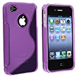 TPU Rubber Skin Case Compatible With Apple?? iPhone?? 4, Clear Dark Purple S Shape