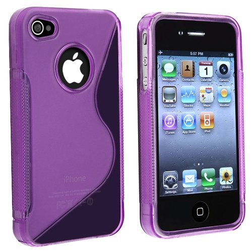 eForCity TPU Rubber Skin Case Compatible With Apple iPhone 4, Clear Dark Purple S Shape