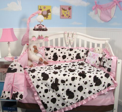 Buy SoHo Pink Moo Moo Chenille Baby Crib Nursery Bedding SET 10 Pieces ** Reversible Into 2 Designs ! **
