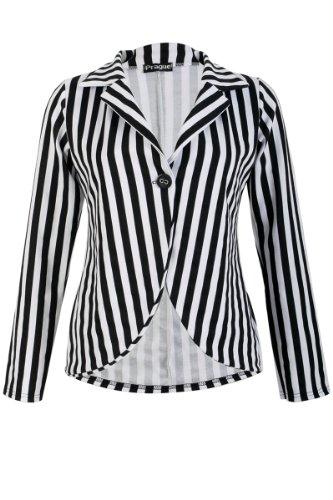 31T Womens Black Vertical Striped Long Sleeved Ladies Jacket Blazer